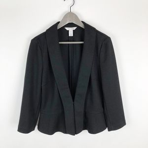 WHBM Black One Hook Closure Ponte Knit Jacket
